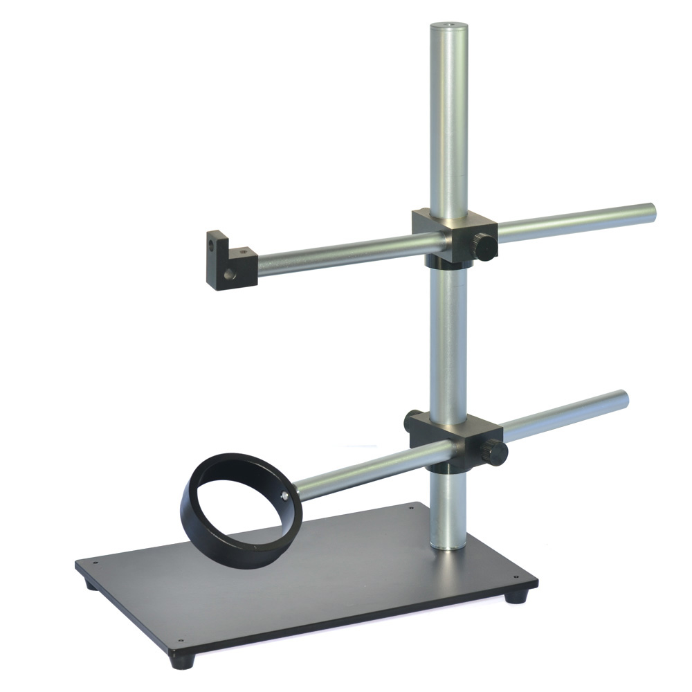 Dual Arm Rotatable Boom Microscope Table Stand Aluminum CNC Heavy Duty Stereo Microscope Stand HY-13A