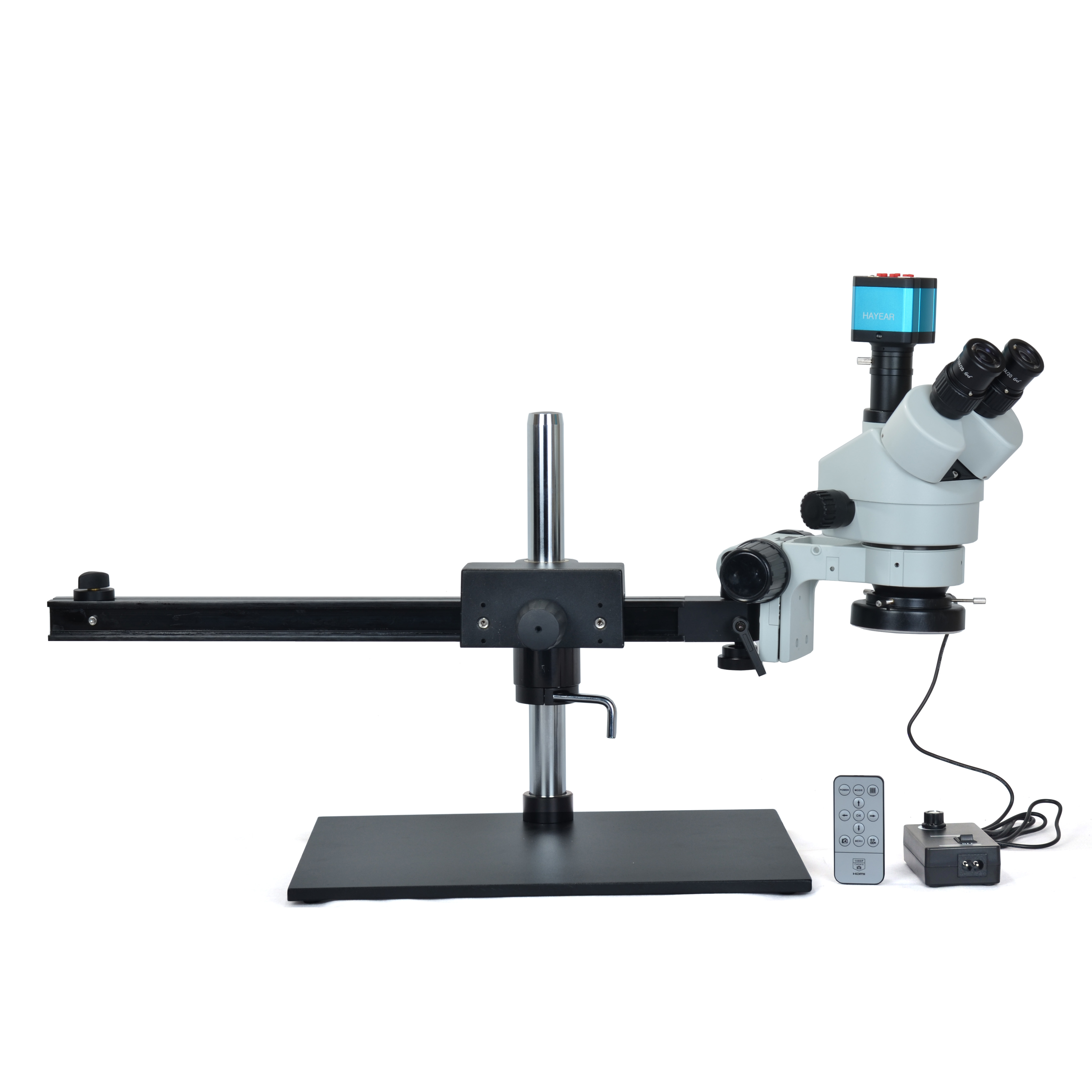 Simul-focal 7X-45X Trinocular Stereo Microscope 14MP HDMI Industrial Microscope Camera+60 LED light with Big Table Stand