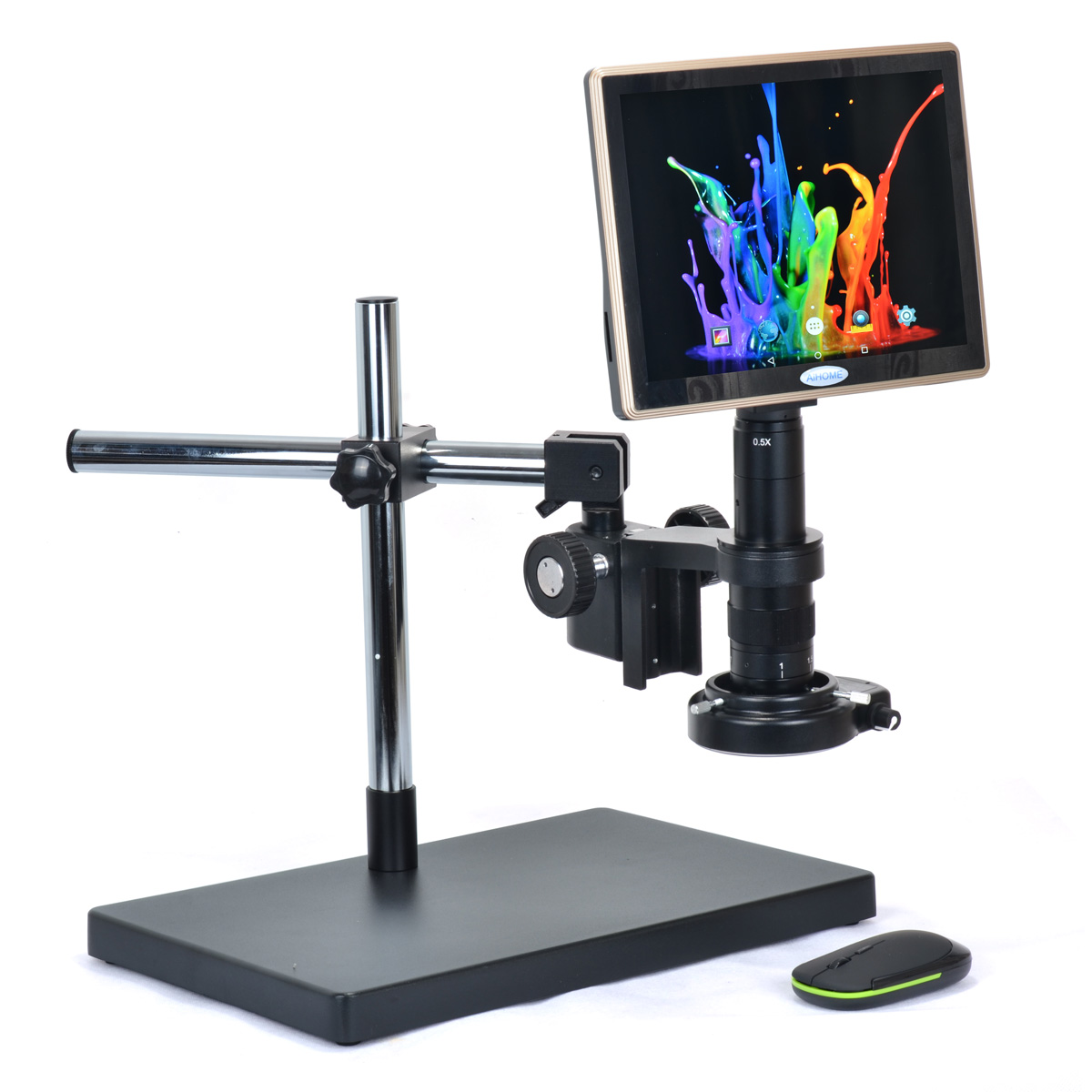 9.7 Inch Touch Screen Tablet Industrial Microscope Tablet Camera with Table Stand 180X C-mount Lens HY-3698S