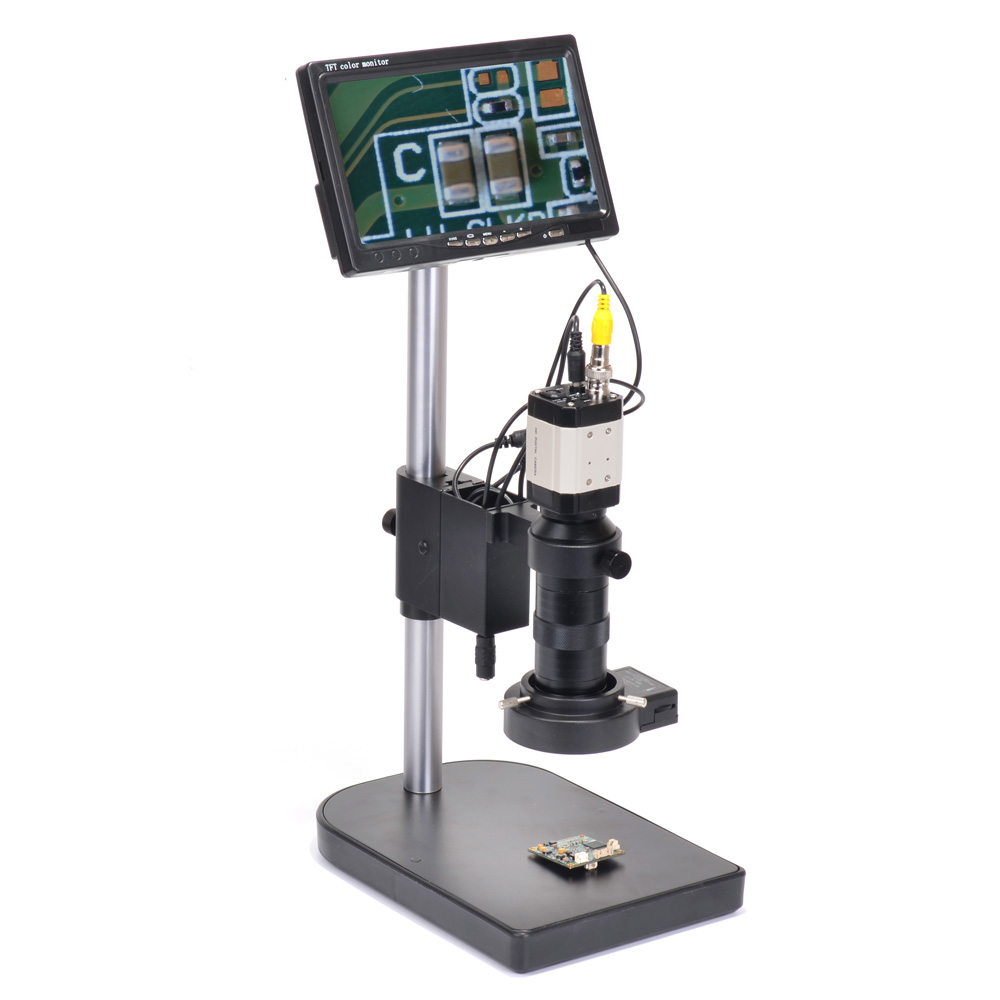 "Industrial Microscope Camera BNC 800TVL 100X + 7"" LCD Monitor + Stand Holder + C-Mount Lens + 40 LED Ring Right BN-9800S"