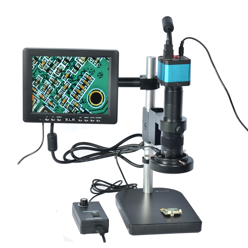Full Set 14MP Industrial Microscope Camera HDMI USB Outputs with 180X C-mount Lens HY-2307B